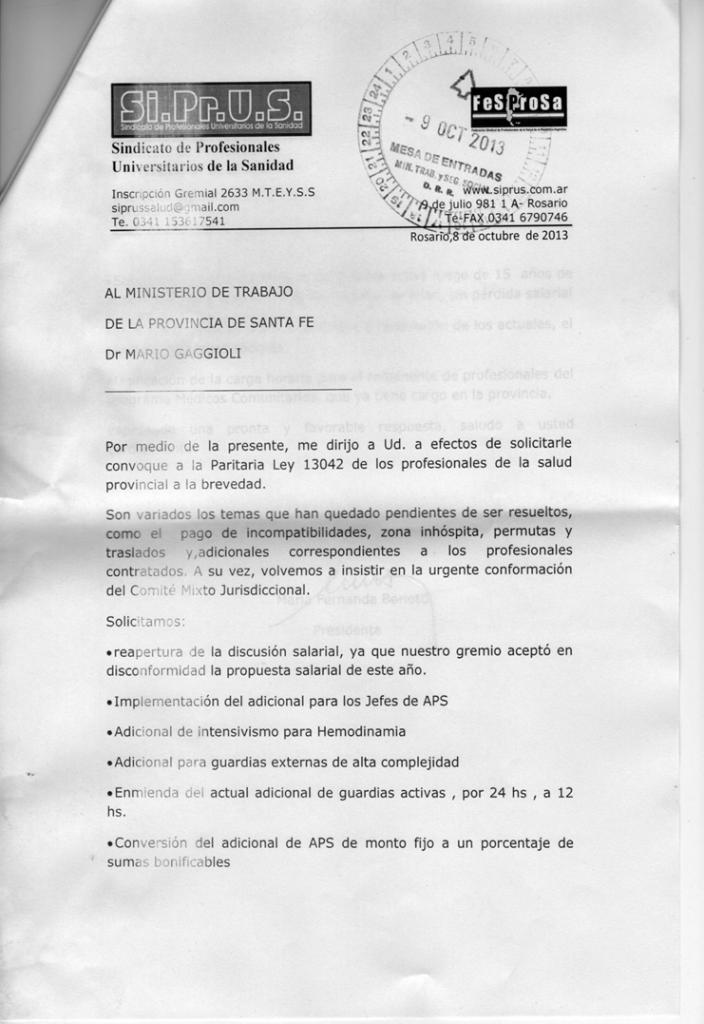 SIPRUS SOLICITA UNA NUEVA REUNION PARITARIA.