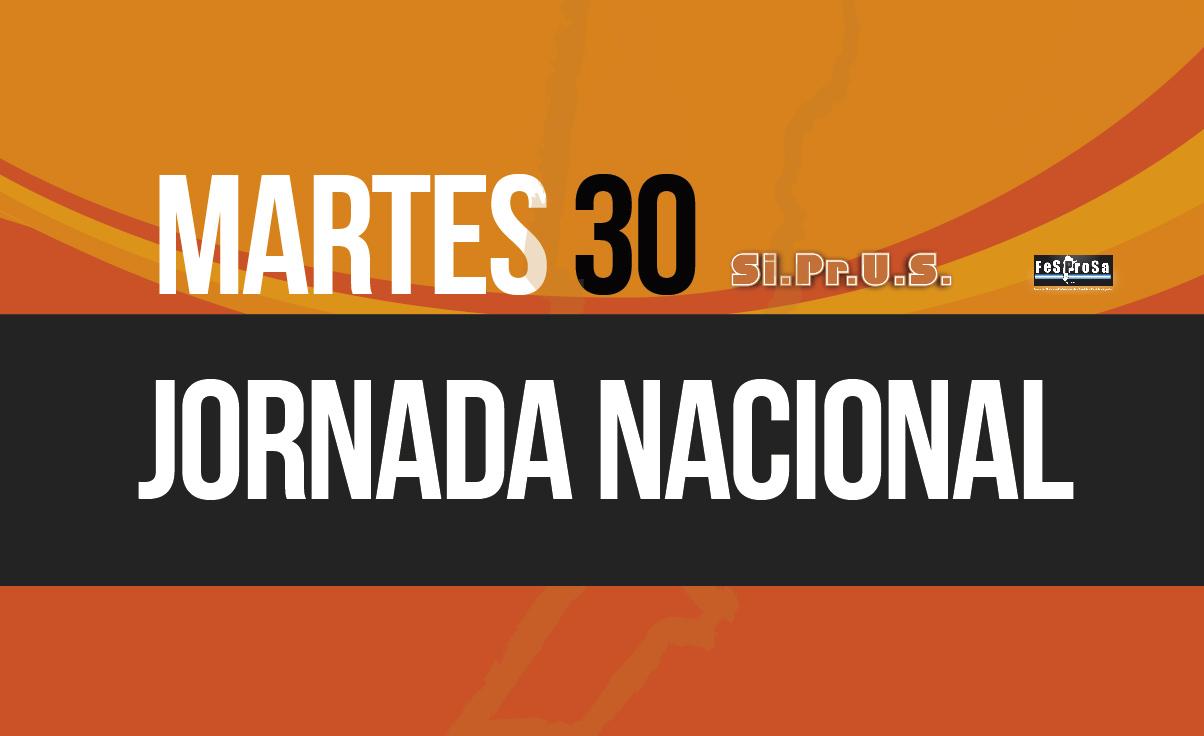 MARTES 30: JORNADA NACIONAL DE LUCHA